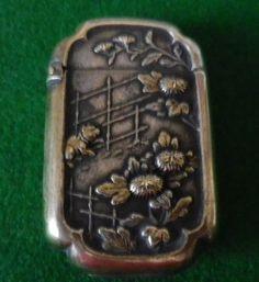 Genuine Old Decorative Japanese Brass Vesta Case or Match Safe Holder