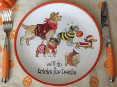 Bark, bark we'll do tricks for treats ! With plates, mugs, and tray showi. Halloween 2016, Scary Halloween, Tablescapes, Tea Party, Decorative Plates, Texas, Mugs, Tableware, Dinnerware