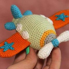 A bright crochet airplane is a wonderful educational toy for the baby who is only beginning to get acquainted with the world. The crochet pattern is FREE!