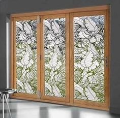 Bahama Breeze window film instantly give your home or office a tropical ambiance. You'll almost feel the tropical breeze with this decorative privacy film for glass doors. Etched Glass Windows, Stained Glass Window Film, Leaded Glass, Window Glass, Tropical Window Film, Tropical Windows, Bahama Breeze, Sliding Glass Door, Glass Doors