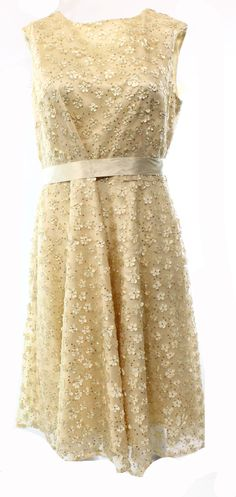 Tahari By ASL NEW Beige Floral Sequined Women's Size 8 Belted Sheath Dress $158