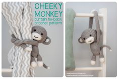 monkey curtain tie back pattern ~ really cute for a little boy's room (she has a doll one for litle girl's room) - these tiebacks are really awesome & unique - she sells the patterns at her Etsy, Craftsy or Ravelry sites.  ~ CROCHET - PURCHASE