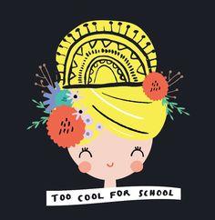 Design by BettyjoyDesignStudio #Bettyjoy #girl #flowers #toocoolforschool