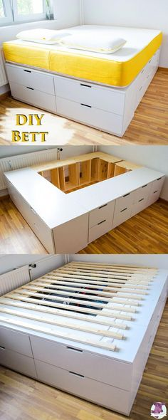 DIY IKEA HACk - build your own platform bed from Ikea chest of drawers .- DIY IKEA HACk – Plattform-Bett selber bauen aus Ikea Kommoden /werbung DIY Ikea Hack – Build a stable, very high bed with lots of storage space yourself with instructions - Bedroom Storage Ideas For Clothes, Bedroom Storage For Small Rooms, Storage Spaces, Ikea Hack Lit, Diy Ikea Hacks, Ikea Bed Hack, Diy Organizer, Closet Ikea, Bed In Closet
