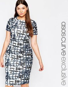 Image 1 of ASOS CURVE Body-Conscious Midi Dress in Abstract Check Print
