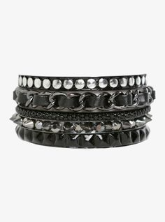Spikes, studs and faux leather are the standout features on this set of five hematite and black bangles.