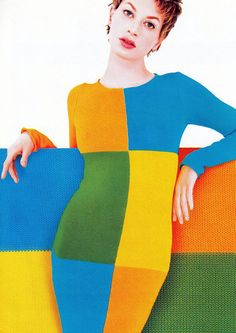 Kristen McMenamy by Mondino  - Color Blocking is hot for Fall 2012