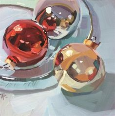 "Daily Paintworks - ""Ornament Trio"" - Original Fine Art for Sale - © Teddi Parker"