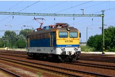 MÁV 433 268 B'B' AC Electric locomotive from series at Szabadbattyan Vasutallomas in Hungary Light Rail, Electric Locomotive, Bahn, Hungary, Trains, Street, Vehicles, Europe