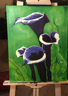 Black Calla Lilies is done just in time for me to get to bed lol  #ArtIsLife #Black #CallaLily #Flowers #ArtistLife #painting #Art #Artwork #Passion ‬#drawing #paint #painter #sketch #sketching #botany #botanical #acrylic #floral #homedecor #decor #wallart #fineart #walldecor #workinprogress #paintingoftheday