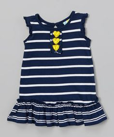 Another great find on #zulily! Navy Stripe Ruffle Dress - Infant, Toddler & Girls #zulilyfinds