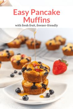 The best on-the-go pancake muffins! Add any of your favorite pancake mix-ins and have a portable breakfast everyone loves. Kid-friendly, freezer friendly. #quickandeasy #pancakes #muffins Fruit Pancakes, Pancake Muffins, Pancakes Easy, Good Healthy Recipes, Ww Recipes, Healthy Breakfast Recipes, Muffin Recipes, Healthy Eating, Recipe Filing