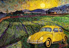 The Morning after Starry Night Volkswagen, Beetle Car, Pony Car, Love Bugs, Vw Beetles, Vincent Van Gogh, Sunny Days, Line Art, Classic Cars