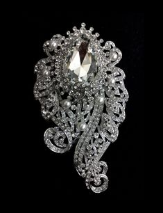 Art Nouveau Bridal Brooch Bustier Broach Crystal Pearl by YJDesign, $64