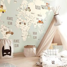 The wallpaper can be ordered in various sizes. We work like tailors, the wallpaper will fit perfectly on your wall, you just have to give us the measures you need! Little Hands Wallpaper, Kids Room Wallpaper, Map Wallpaper, Wallpaper Ideas, Baby Room Decor, Bedroom Decor, Bedroom Furniture, Wall Decor, Kids Decor