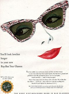 The prettiest ever, Vintage 1953 Ray Ban ad Retro Advertising, Vintage Advertisements, Vintage Ads, Vintage Stuff, Vintage Images, Ray Ban Sunglasses Outlet, Sunglasses Women, Vintage Sunglasses, Tarot