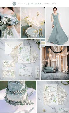 simple and romantic green shade wedding colors with invitation ideas #EWI #weddinginvitations