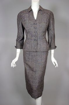 New Look 1950s vintage suit Adele Simpson grey raw silk from Viva Vintage Clothing SOLD!