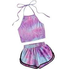 Halter Neck Water Color Knot Back Sleeveless Crop Top With Ringer Shorts Women Summer Beach Wear 2 Piece Sets Lavender Crop Top Und Shorts, Crop Top Outfits, Halter Crop Top, Sleeveless Crop Top, Halter Neck, Teen Fashion Outfits, Outfits For Teens, New Fashion, Girl Outfits