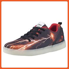 Tortor 1Bacha Women Men Fashion Lightning LED Light Up Flashing Glow  Luminous Sneaker Skate Shoes Black