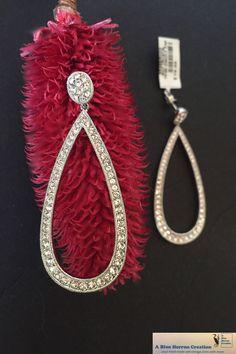 7e63f1946 Vintage Rhodium Platted Brass White Crystal Pear Shaped Dangle Drop Earrings,  Stud Pierced Earrings, Rhodium Pierced Post, Gifts Under 40