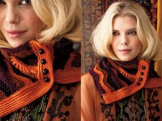 Buttoned Cowl, Vogue Knitting Crochet Another crash course in elemental crochet techniques, Cristina Mershons buttoned cowl, in Mountain Colors Bearfoot, sports a classic feather-and-fan stitch. Love Crochet, Knit Crochet, Vogue Knitting, Crochet Videos, Crochet Fashion, Crochet Scarves, Neck Warmer, Crochet Projects, Cowl