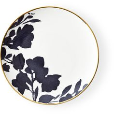 Ralph Lauren Home Audrey Bread & Butter Plate (425 CNY) ❤ liked on Polyvore featuring home, kitchen & dining, dinnerware, handpainted plates, floral plates, colored dinnerware, gold trim plates and ralph lauren home