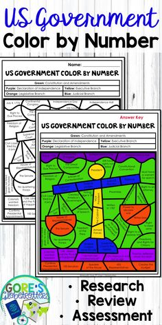 Students love to do Color by Number, and this activity is an engaging way to cover many facts about the government of the United States: Social Studies Lesson Plans, 4th Grade Social Studies, Social Studies Activities, Teaching Social Studies, Classroom Activities, Teaching Tools, Classroom Ideas, Learning Resources, Teaching Government