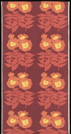 Furnishing fabric (1964) by Barbara Payze for David Whitehead & Sons Ltd. Screen printed cotton.