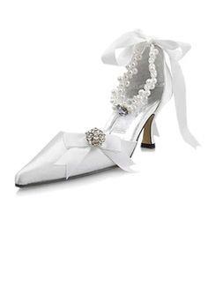 Satin Spool Heel Closed Toe Pumps Wedding Shoes With Imitation Pearl Rhinestone Ribbon Tie (047004903)