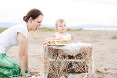 Mommy Daughter Beach Cake Smash Mermaid Birthday Party Cake