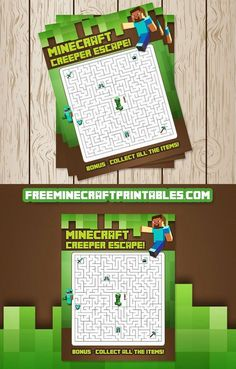 This Minecraft Maze is x 11 inches. I would recommend this Minecraft maze for children who are as it can be a challenge fo. Minecraft Party Food, Minecraft Games, Minecraft Birthday Party, Minecraft Crafts, 6th Birthday Parties, Birthday Fun, Free Minecraft Printables, Minecraft Party Activities, Minecraft Skins