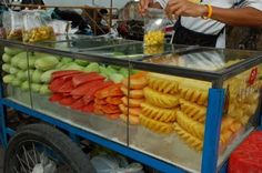 Thai fruit cart.  Makes for a great breakfast or welcome cool snack!