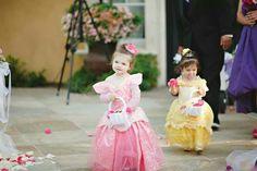 Flower girls as princesses for a disney themed wedding
