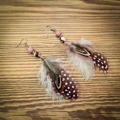 boucles d'oreilles style bohème rose et marron : Boucles d'oreille par gg-naturaboutik