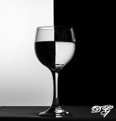 Wine Glass Refraction  Black and White Photography