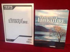 Bob Jones Elements of Literature Student HB, Tests & Tests Answer Key BJU, Gr 10 #TextbookTestsTestsKey