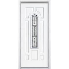 Masonite Providence Center Arch Primed Smooth Fiberglass Entry Door with Brickmold-14698 at The Home Depot