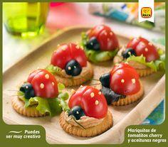 Mariquitas de tomatitos cherry con aceitunas negras. #Jolca #CocinaCreativa #AceitunasNegras #ComidaParaNiños