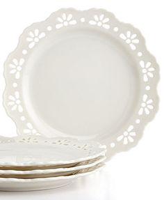 Martha Stewart Collection Whiteware Set of 4 Pierced Dessert Plates: I LOVE these!