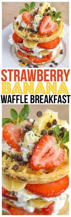Strawberry Banana Waffle Breakfast Family Style. Clean eating just got easier with Eggos Waffles. Enjoy with your favorite breakfast recipes via @KnowYourProduce #LeggoMyEggo #HearTheNews #ad @eggorecipes