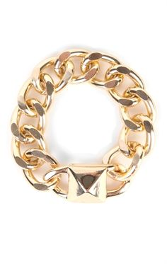 Deb Shops Chunky Chain Bracelet with Pyramid Stud $7.50