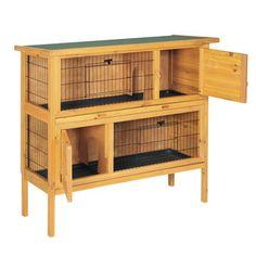 189 euros  Clapier 2 niveaux en bois lasur� toit amovible 2 lapins JEANOT