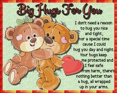 A perfect card for Hug Week or on any occasion. Free online I Don't Need An Occasion To ecards on Hug Holiday Week Miss You Cards, Love Cards, Romantic Hug, Cute Hug, Hug Quotes, Online Greeting Cards, Sending Hugs, Morning Inspirational Quotes, You Are Special