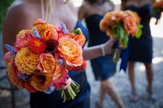 Bright colorful wedding bouquet / orange, blue and red wedding bouquet with roses, tulips and calla lilies Coral Wedding Flowers, Red Bouquet Wedding, Prom Flowers, Bridesmaid Bouquet, Red Wedding, Wedding Colors, Fall Wedding, Plant Wedding Favors, Wedding Favors For Guests
