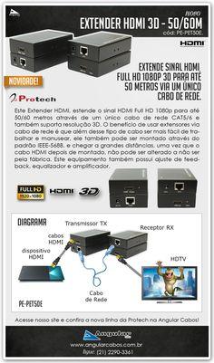 Extender HDMI Full HD via um único cabo de rede CAT5/6, para 50/60 metros. Qualidade Protech.