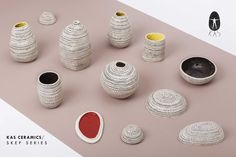 In the Skep series there are different shaped vases and pyxis/boxes. Bronze age ceramics, beehives and woven baskets were the source of the design. Woven Baskets, Basket Weaving, Bronze Age, Nespresso, Vases, Bottles, Pottery, Ceramics, Colors