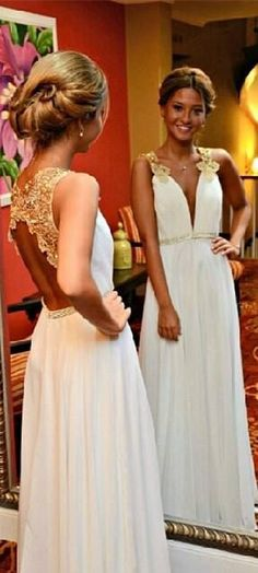 DIYouth.com New Arrival Gold Lace Ivory Wedding Dress,Backless Long Prom Dress,Open Back Deep V Neck Evening Prom Dresses,Cheap Wedding Party Dress