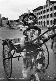 "Africa | ""Rickshaw Boy"". Durban, South Africa | Scanned old postcard. Durban South Africa, Africa Destinations, Kwazulu Natal, The Beautiful Country, Travel Companies, Travel Planner, Old Postcards, Historical Society, Beach Fun"