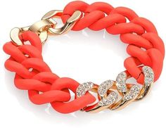 ABS by Allen Schwartz Jewelry Pave Silicone Link Bracelet/Red